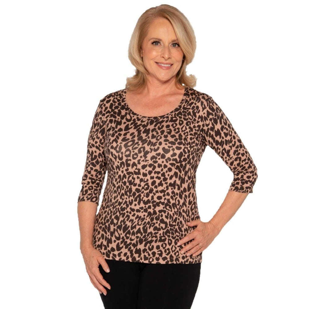 leopard print women's scoop neck top