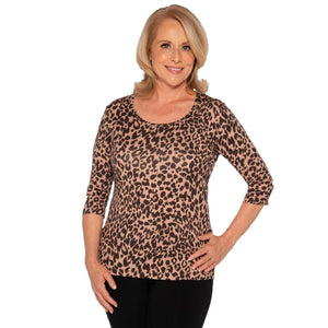 Animal Print Luxurious Modal Scoop Neck Top Tops Leopard / S Covered Perfectly
