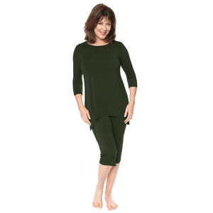 Olive lounge wear women's capri pants