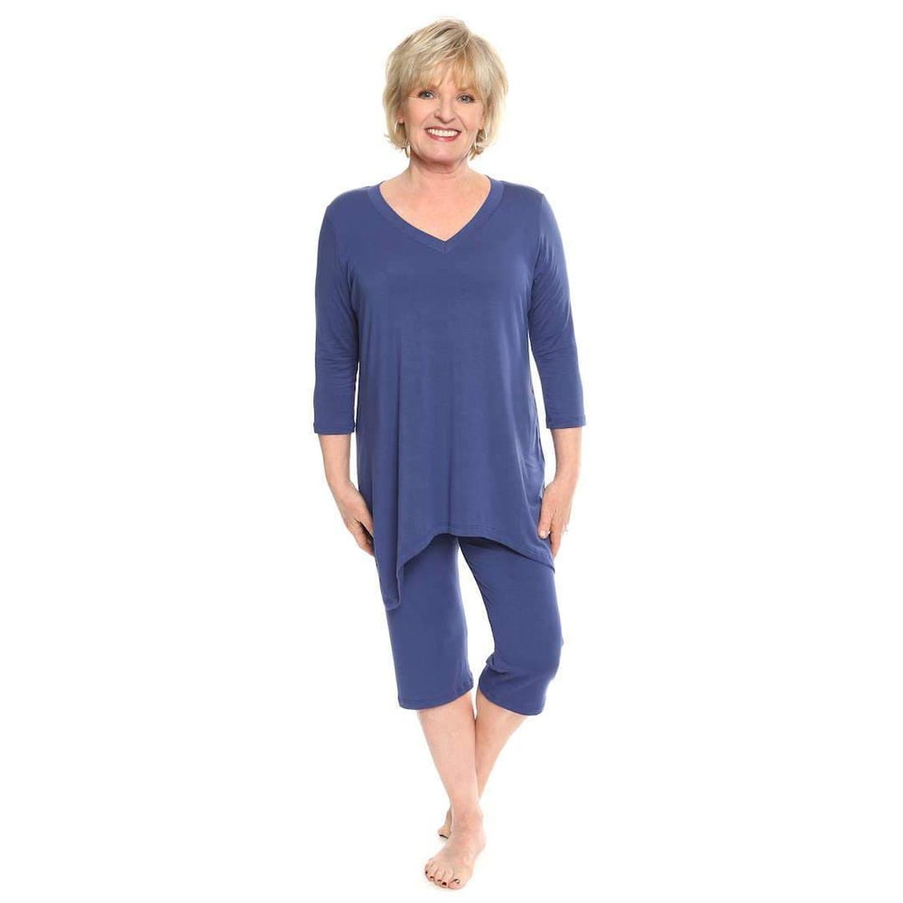 V-Neck Womans Leisure Suit Leisure Suit Ink-Blue / S Covered Perfectly