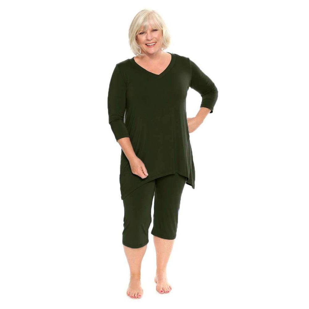 black capri pant set lounge wear that doubles as pj's