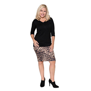 Leopard Pencil Skirt Skirts Leopard / S Covered Perfectly
