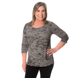Simple Comfort Patterned Tops Gray Burnout / S Covered Perfectly