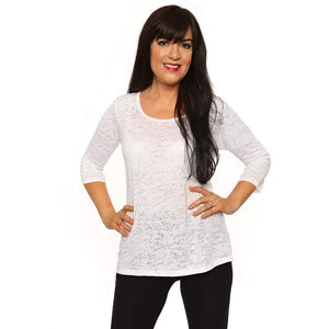 Burnout fabric womens tops on sale