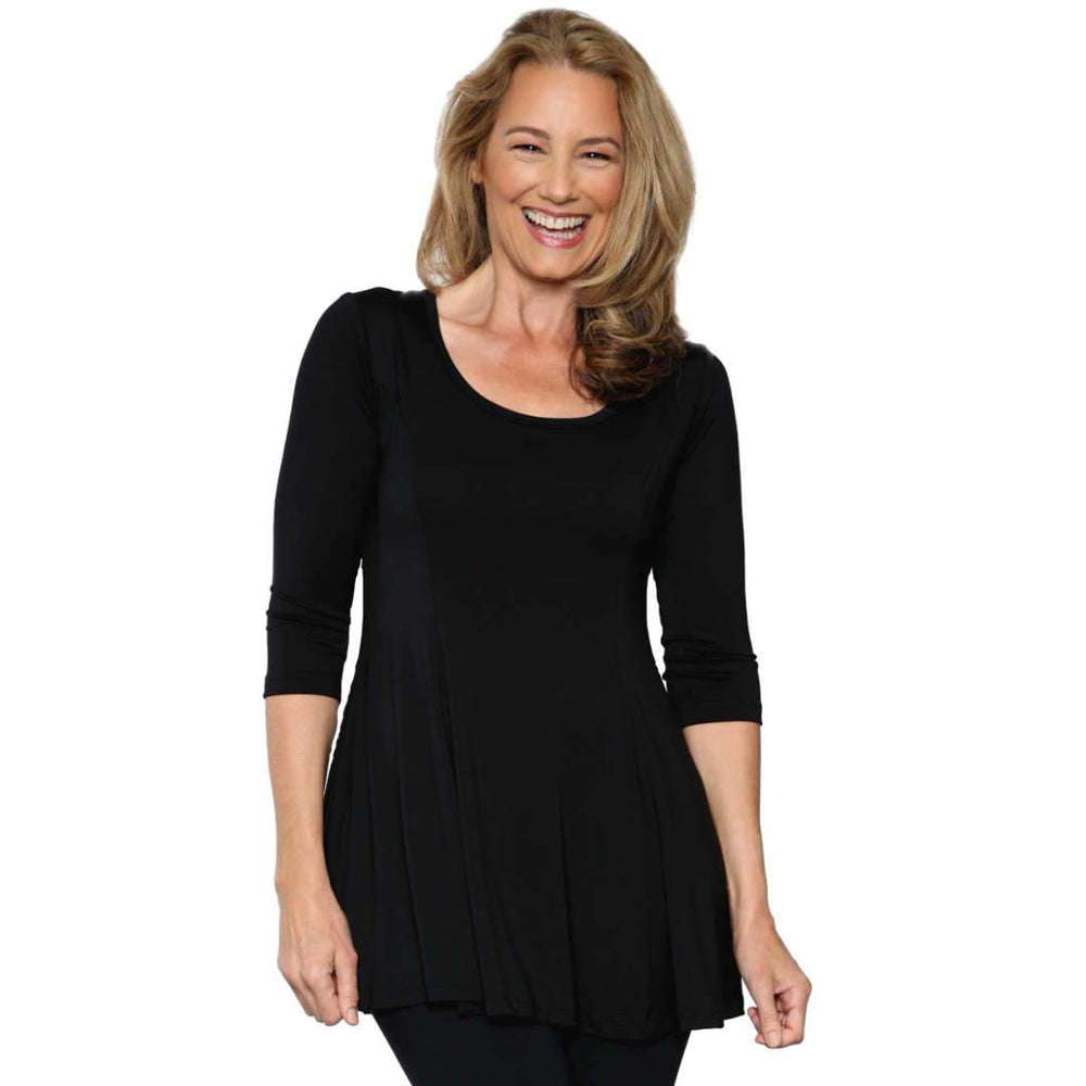 The fun and flirty fit and flare women's top in black
