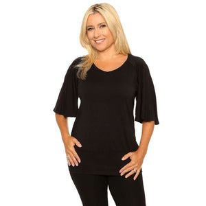 Black bell sleeved women's top