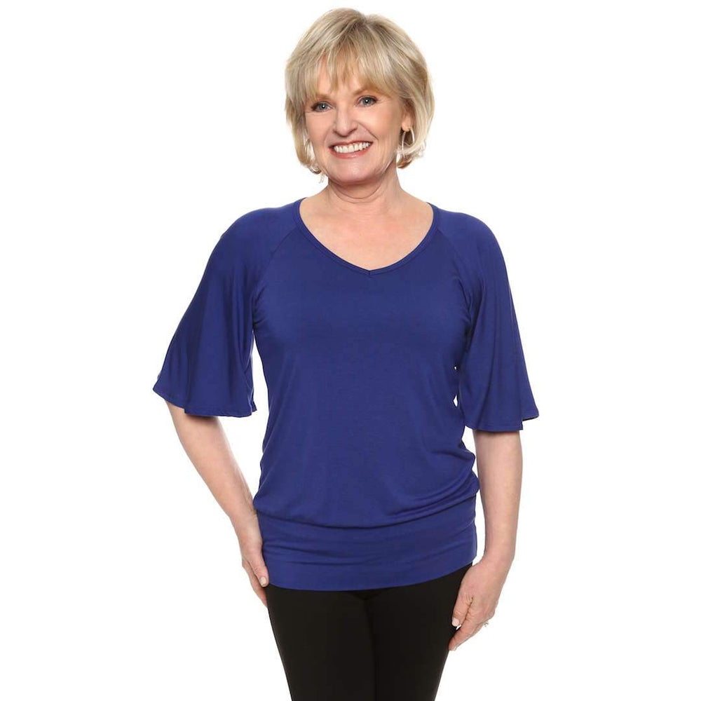 Bell sleeved women's top in royal blue