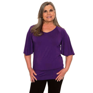 violet women's bell sleeved top