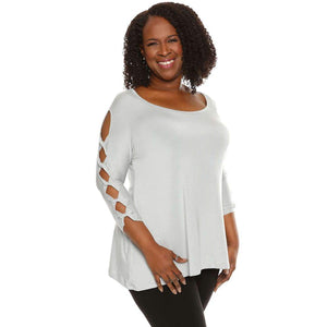 Tops on sale gray cutout sleeves
