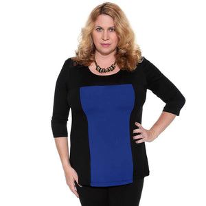 Slimming color block women's top in black and royal blue