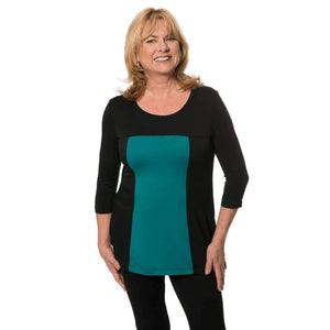 Teal and black color block women's top
