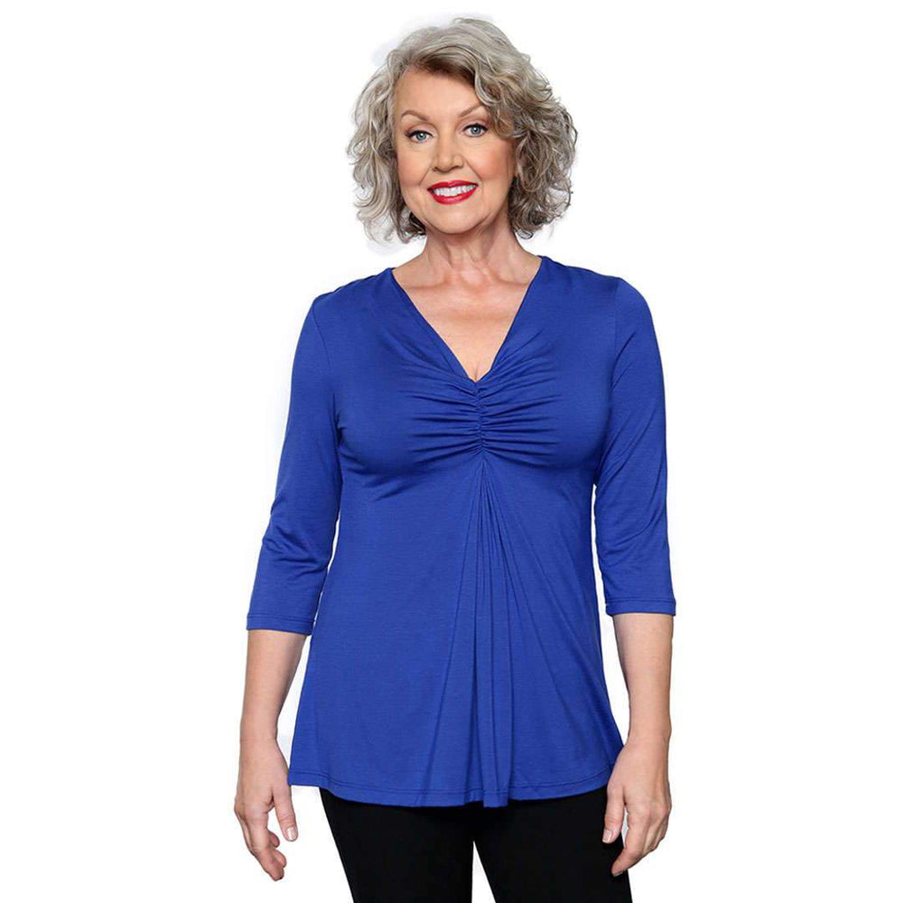 Gathered womens top royal blue