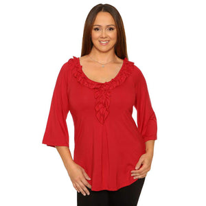 Red womens top with ruffled neckline
