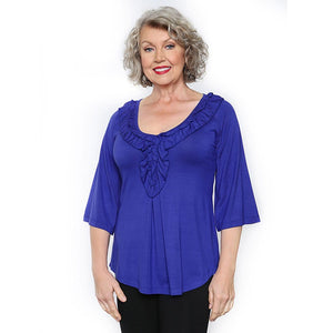 Royal blue ruffled women's top