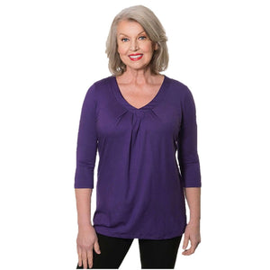 violet v-neck women's top with pleats