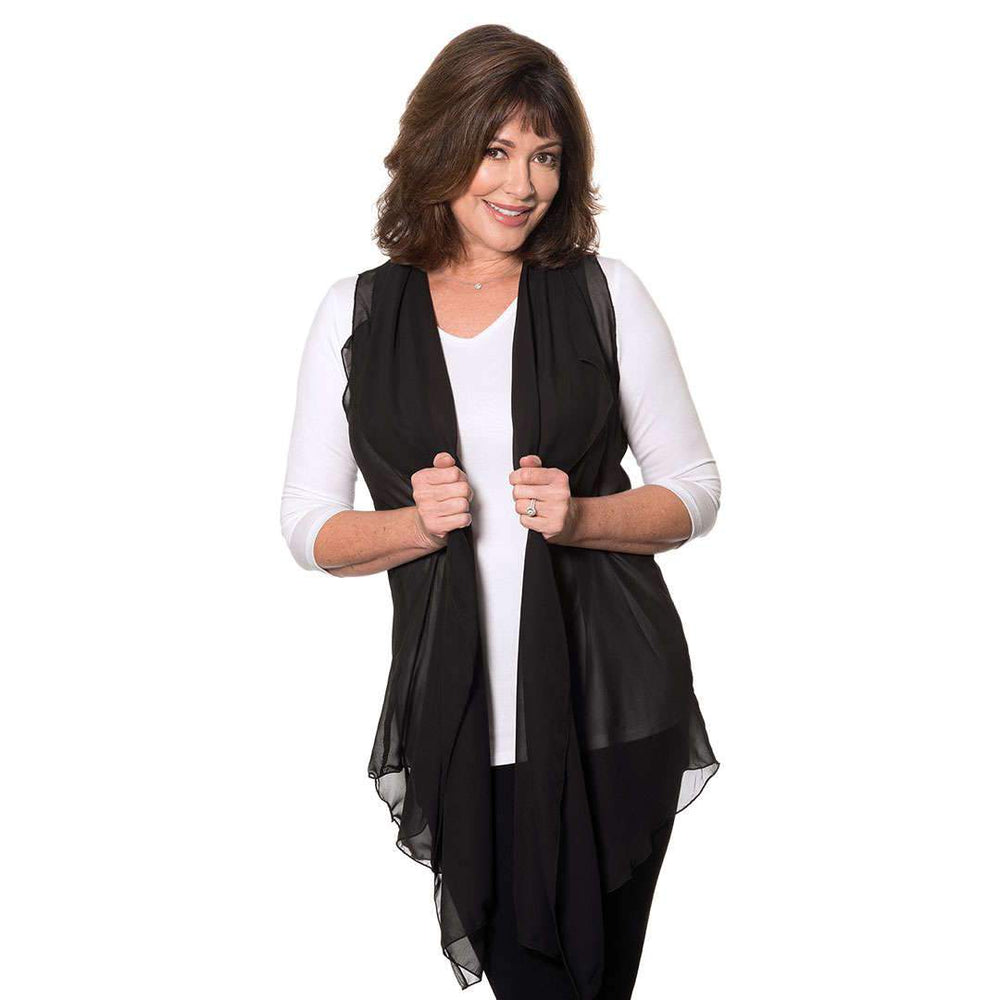 Black Chiffon Cascading Vest Tops Covered Perfectly