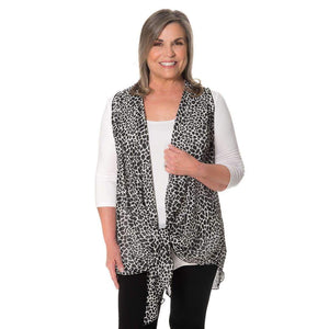 Black and white chiffon vest tied up to cover you perfectly