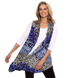 Blue and Black Cascading Vest Tops Covered Perfectly