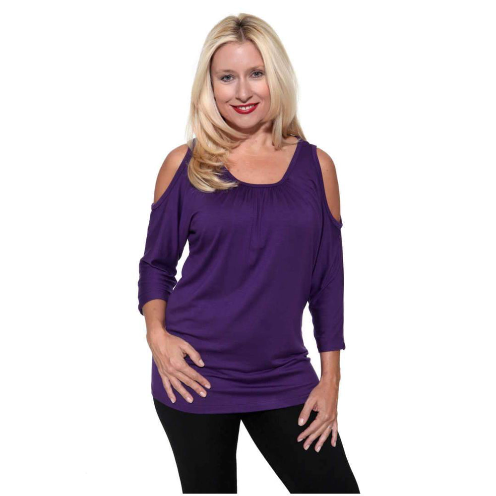 Cold Shoulder Micro Modal Womens Top Tops Violet / S Covered Perfectly
