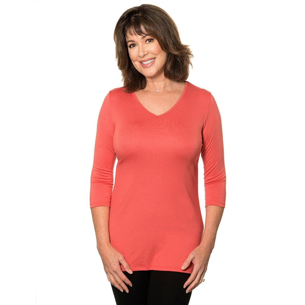 Womans V -Neck top on Special Tops Maroon / 2X Covered Perfectly