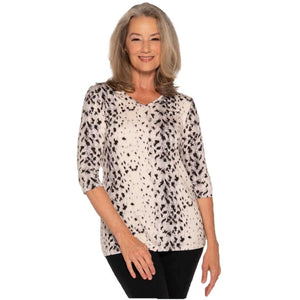 V-neck Snow Leopard Modal Tops Snow Leopard / S Covered Perfectly
