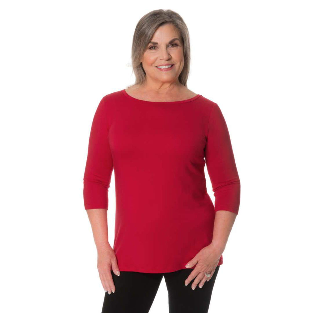 Elegant Boat Neck Woman's Top Tops Red / S Covered Perfectly