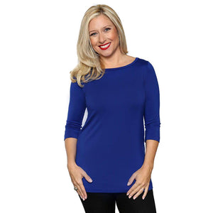 Elegant Boat Neck Woman's Top Tops Royal-Blue / S Covered Perfectly