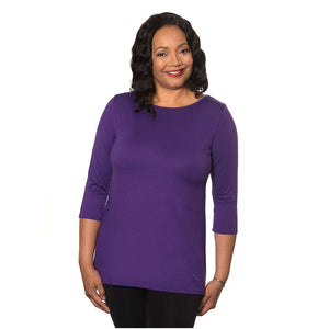 violet women's top purple boat neck