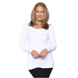 Long sleeved scoop neck white women's top