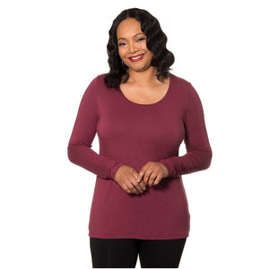 Long Sleeved Scoop Neck Tee Shirt Tops Wine / S Covered Perfectly