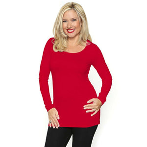 Long Sleeved Scoop Neck Tee Shirt Tops Red / S Covered Perfectly