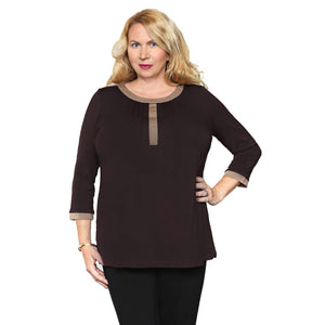 brown and malt women's top with delicate flattering pleats