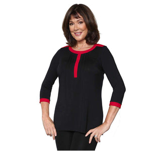 Black women's blouse with contrast color
