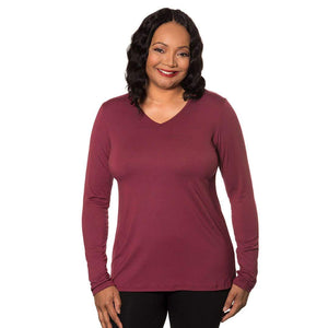 Long Sleeve V-neck Women's Top Tops Wine / M Covered Perfectly
