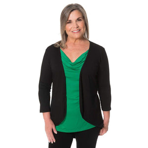 TwoFer Layering Without the Bulk Tops Black-Kelly-Green / S Covered Perfectly