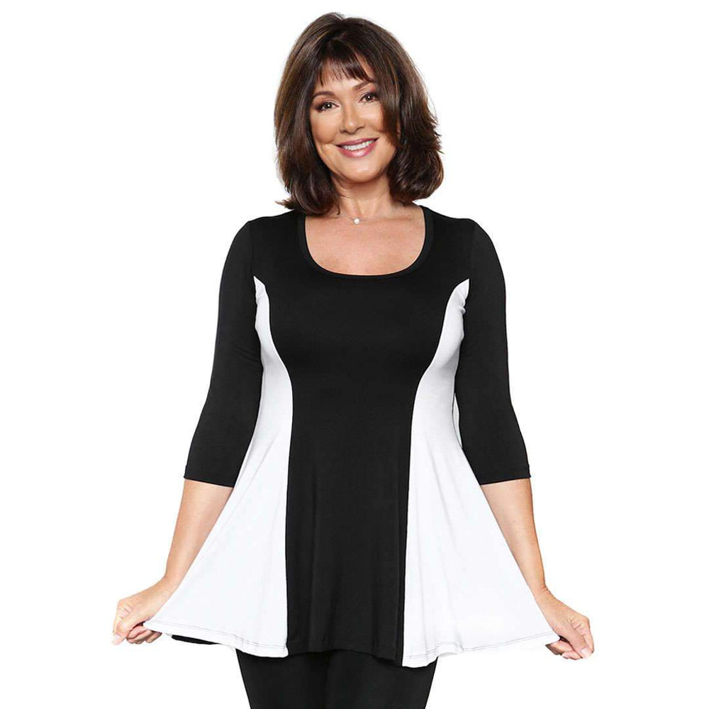 The fun and flirty fit and flare women's top in black and white combo