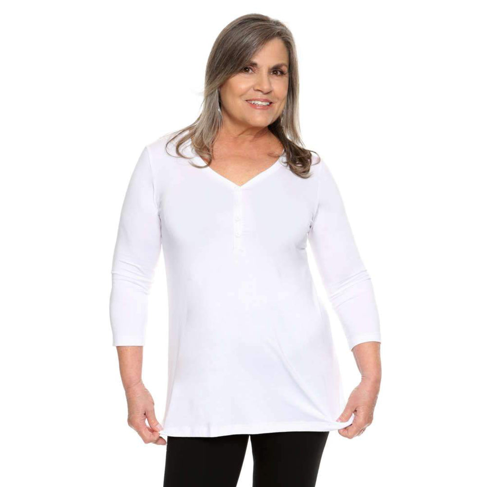 Classic Henley Women's top in white