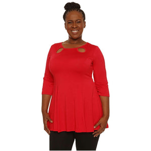 Loose Sleeve Keyhole Ladies Top Tops Red / M Covered Perfectly