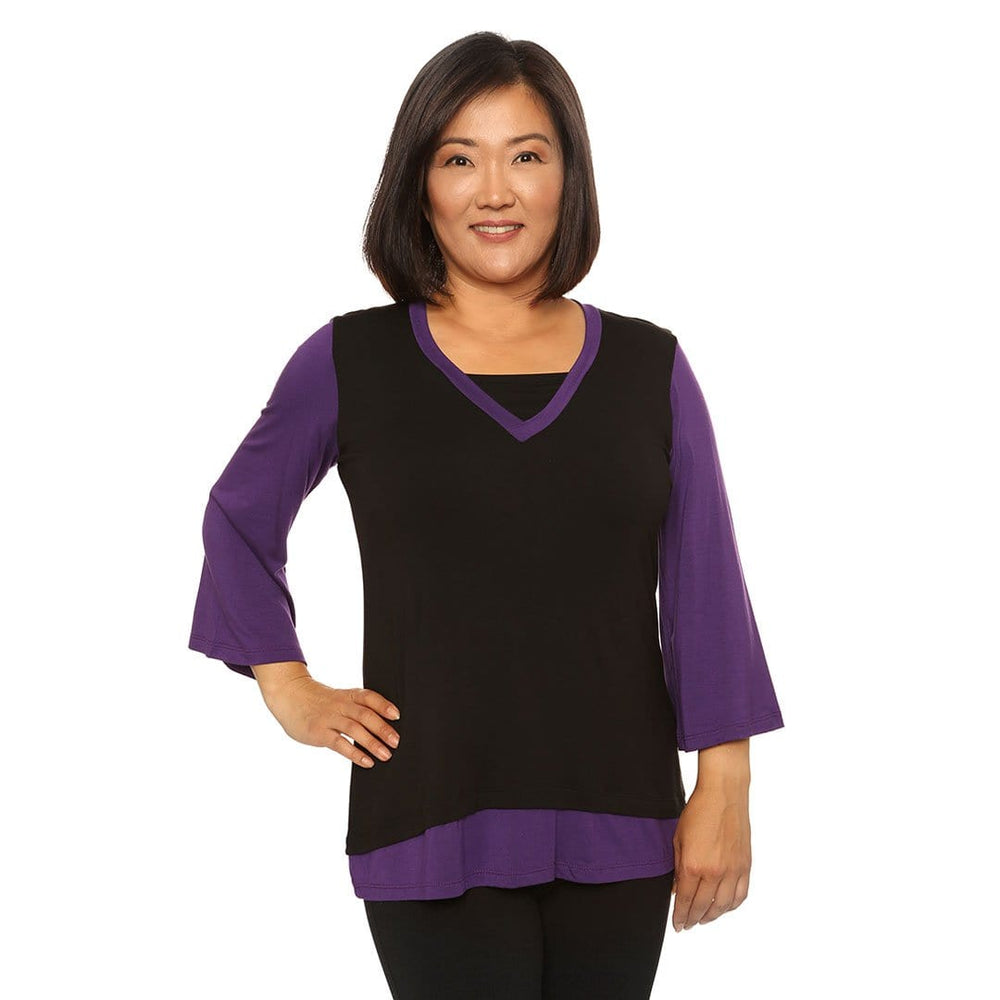 Layered V-Neck Woman's Top Tops Black-Violet / S Covered Perfectly