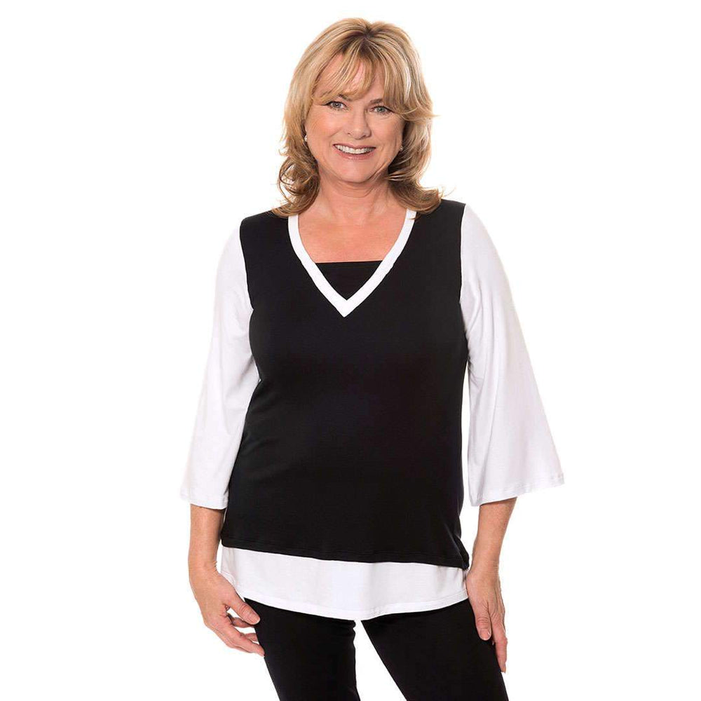 Layered look v-neck women's top with bell sleeves