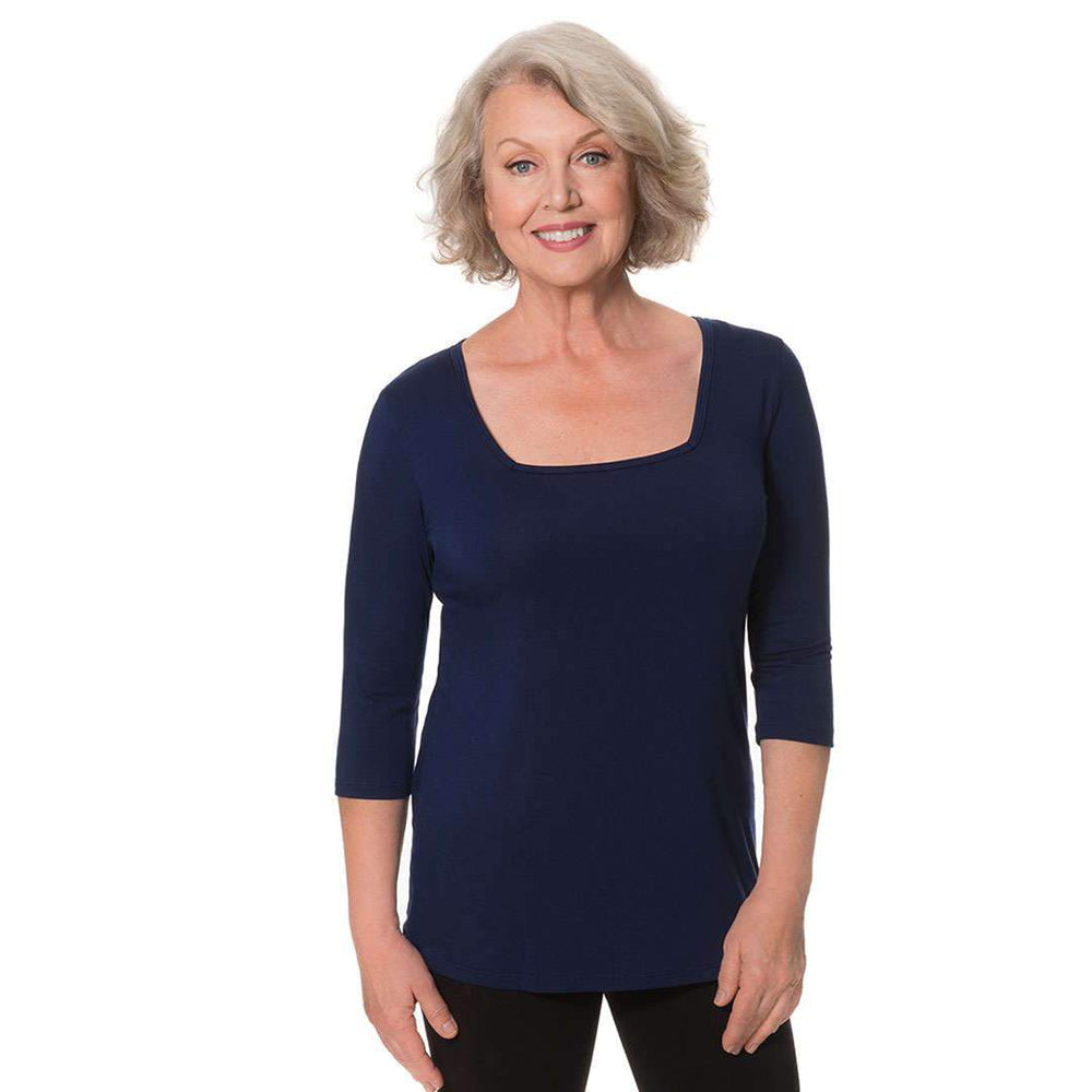 navy square neck women's top