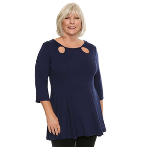Loose Sleeve Keyhole Ladies Top Tops Navy / S Covered Perfectly
