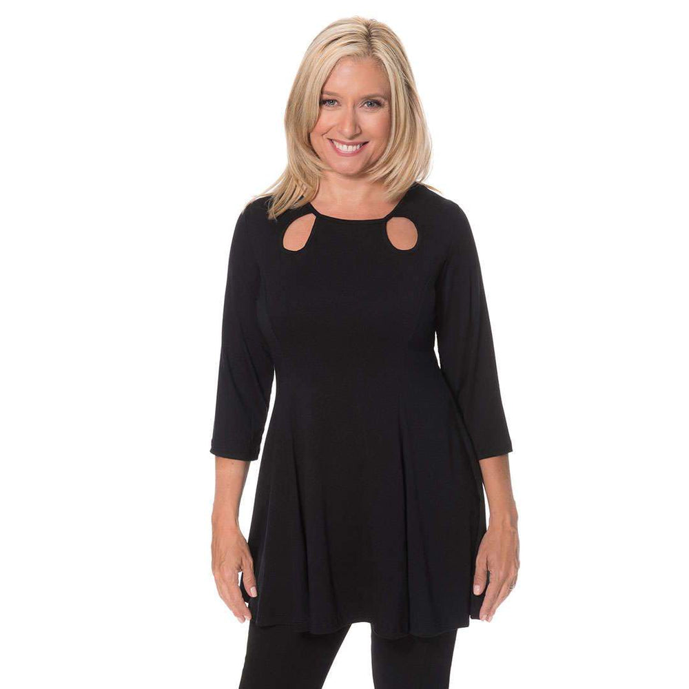 Loose Sleeve Keyhole Ladies Top Tops Black / S Covered Perfectly