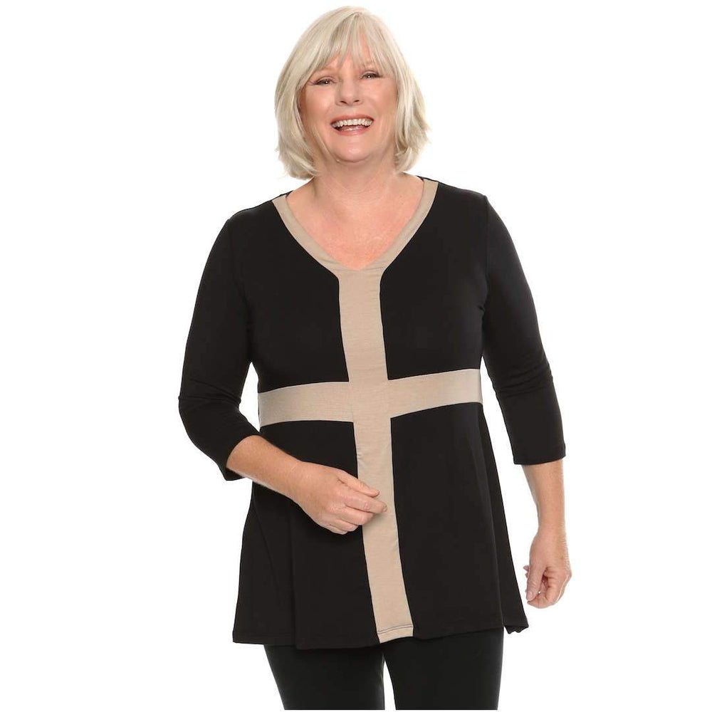 black and malt v-neck paneled women's top