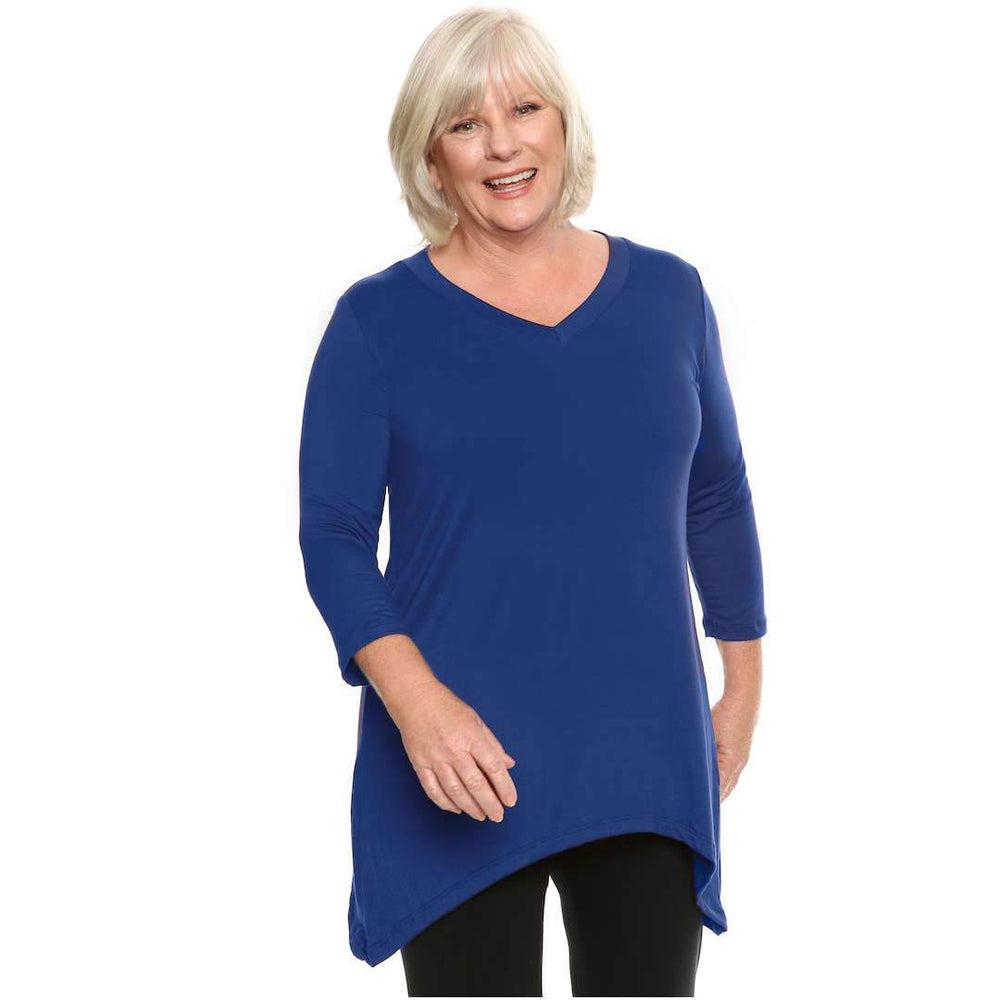 V Neck 3/4 Sleeve Asymmetrical Woman's Top Tops Royal-Blue / S Covered Perfectly