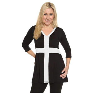 black and white women's top with slimming panels