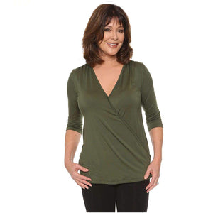 Stylish Cross Draped Wrap Top Tops Olive / XL Covered Perfectly