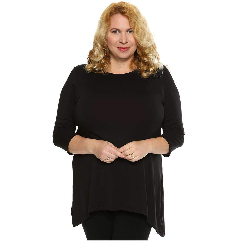 Scoop Neck Asymmetrical 3/4 Sleeve Top Tops Black / S Covered Perfectly