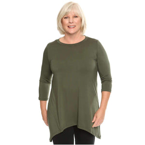 Scoop Neck Asymmetrical 3/4 Sleeve Top Tops Olive / S Covered Perfectly