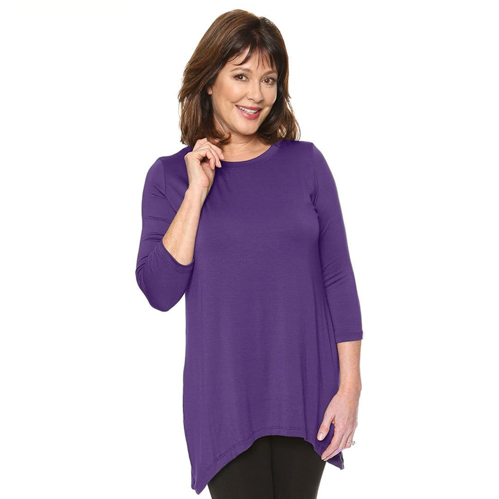 High neckline asymmetrical hem line womens top in purple